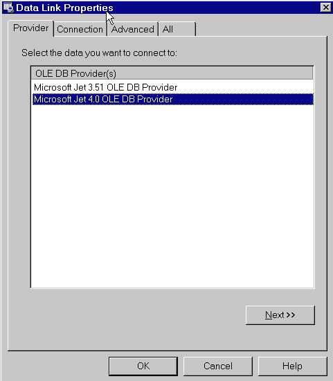 To import an existing table from an OLE DB-compliant provider data