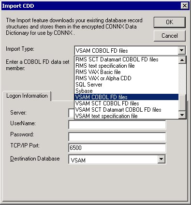 To import from VSAM COBOL FD files - Started Task